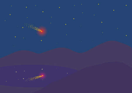 night background with falling meteor Stock Photo - 2718265