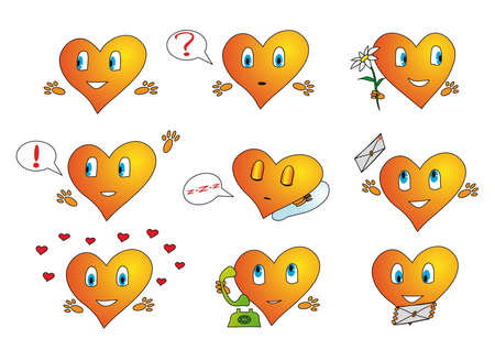 Valentine icons with a lot of hearts photo