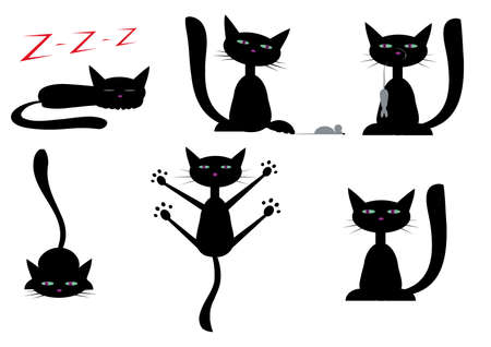set of pictures with black cats Stock Photo