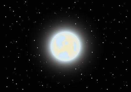 Vektor-Vollmond am Nachthimmel