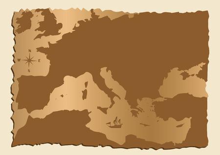 Old mappa d'Europa con Mar Mediterraneo