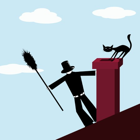illustration of chimney-sweep and afraid cat