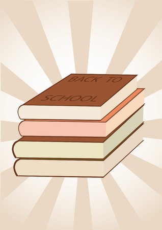 vector striped background with several books Ilustração