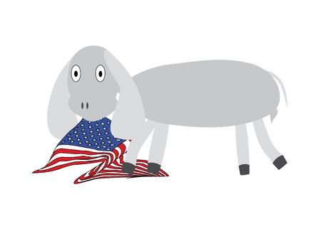 illustration with donkey an usa flag