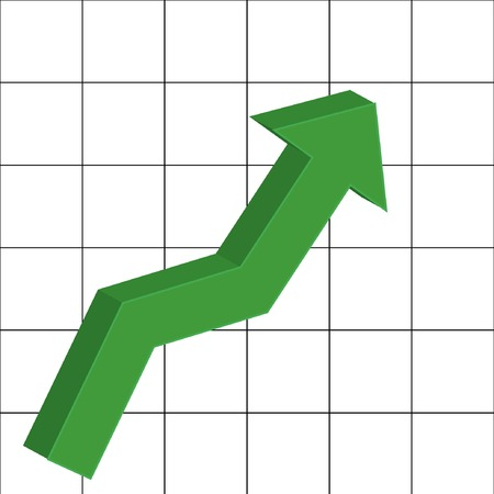 illustration of graph with green  up arrow Illustration