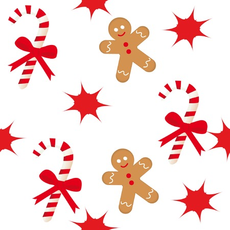 Seamless pattern with candy cane, star and gingerbread man