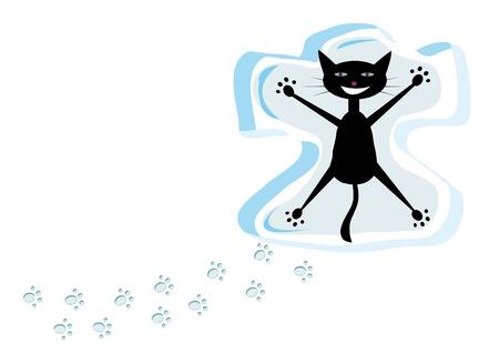 Cartoon black cat on snow Illustration