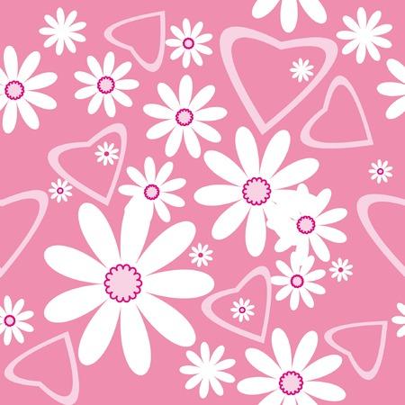 Bezszwowych deseniu z chamomiles i serc na tle różowy