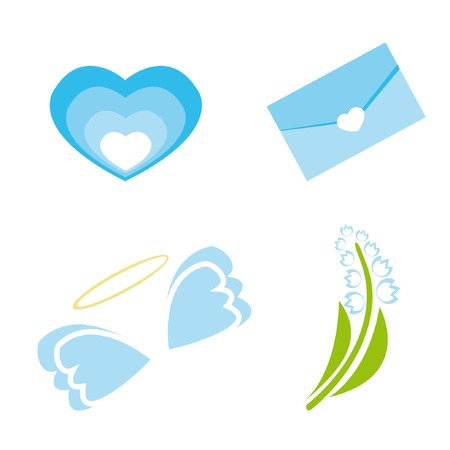 Set of icons for st. Valentine day (heart, envelope, wings, lily of the valley). Vector illustration. Stock Vector - 4131679