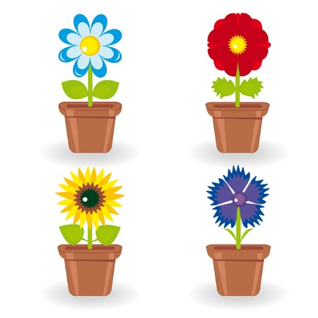 Set of four flowers in flowerpots (chamomile, rose, bluet, sunflower)