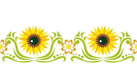 Seamless ornament with sunflower and chamomiles