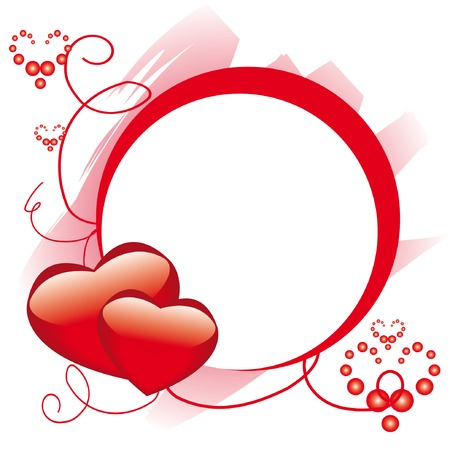 Circle frame with hearts for st. Valentine day