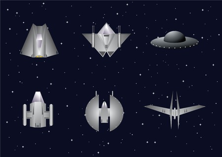 Vector set of space crafts with starry background Illustration