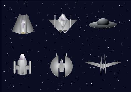 Vector van ruimte ambachten met sterren achtergrond instellen