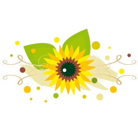Abstract element with sunflower on spotted background
