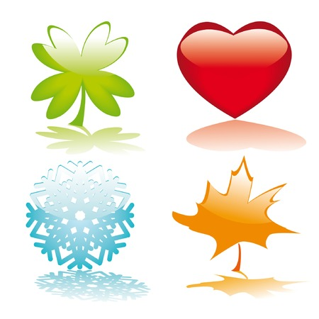 Four glossy buttons for holidays design (heart, clower leaf, snowflake, maple leaf). Vector illustration.