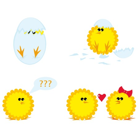 Set of cartoon chickens for Easter. Vector illustration. Ilustração