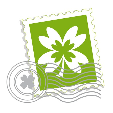 Postage stamp with clover leaf for St. Patricks day