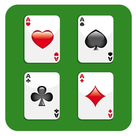 Four aces on green background. Vector illustration.