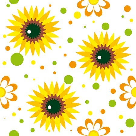 Seamless pattern with sunwlowers, chamomailes and color spots