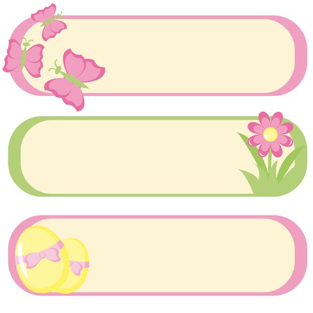 Set of three banners for Easter design. Vector illustration. Ilustração