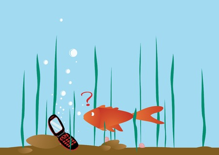 Funny picture with fish. Vector illustration. Vettoriali