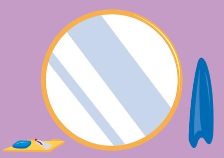 Baño de fondo redondo con espejo, jabón, pasta y Toth-toalla Ilustración de vector