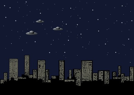 Night background with the city and the aliens Stock Vector - 4736732