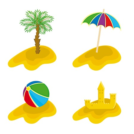 A set of  of beach stuff for your design Ilustração