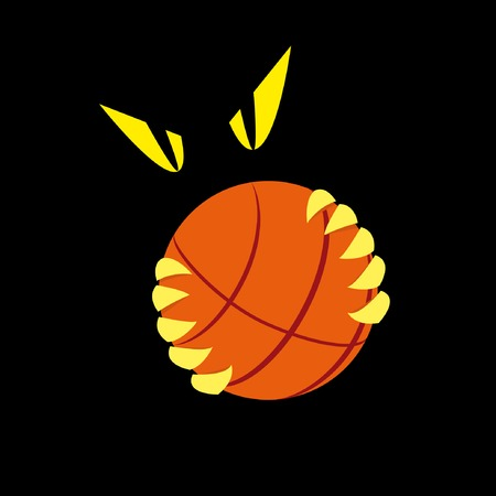 Basketball emblem with the ball and terrible eyes