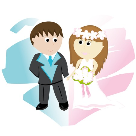 Bridegroom and bride on background with abstract heart