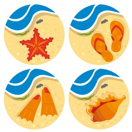 Bright set of beach stuff for your design. Vector illustration. Ilustração