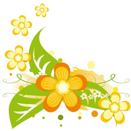Bright summer background with abstract orange flowers. Vector illustration.