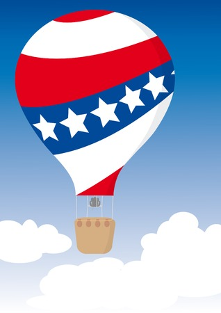 US Flag Hot Air Balloon for Independence Day. Vector illustration. Ilustração