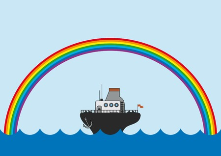 background with the rainbow and little steamboat Illustration
