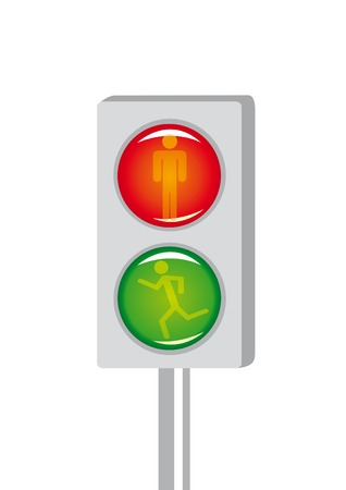 Isolated picture of cartoon light signal for pedestrian crossing