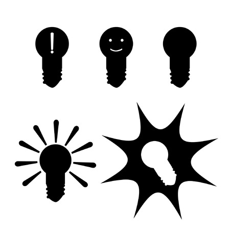Vector set with black silhouettes of different lamps Ilustração