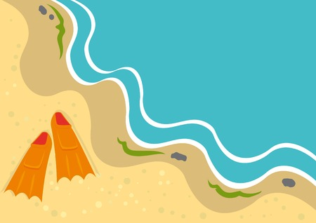 Background Lato z płetwami na plaży. Vector illustration. Ilustracje wektorowe