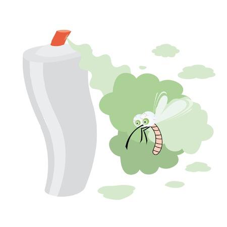 스프레이와 고글 eyed 모기 격리 된 그림. 일러스트