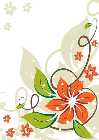 Grunge floral background with abstract orange flowers. Vector illustrations.