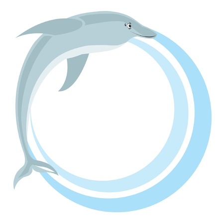 Circle frame with dolphin. Vector illustration. Illustration