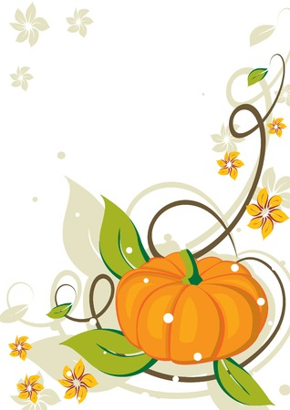 Grunge background with pumpkin and flowers. Vector illustration.