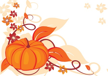 Grunge autumnal background with pumpkin. Vector illustration.