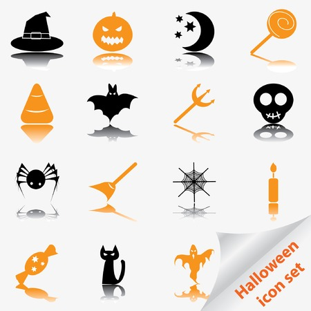Halloween icon set. Vector illustration.