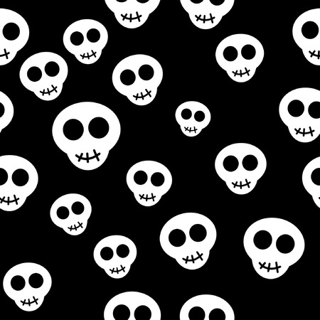 Seamless pattern with white skulls on black background. Vector illustration