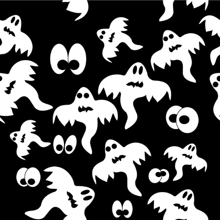 Seamless pattern with ghosts on black background. Vector illustration. Ilustração