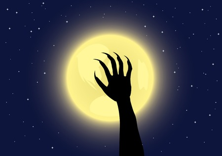Werewolf's claws on a full moon background. Vector illustration