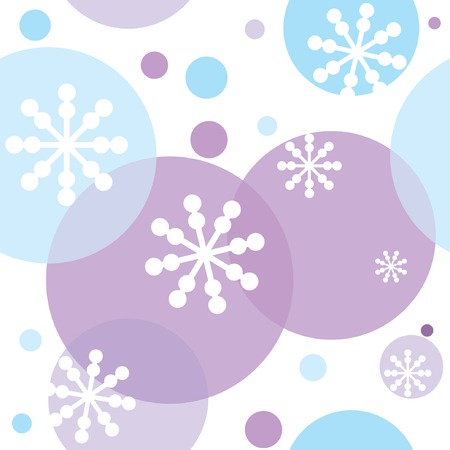 Seamless pattern with snowflakes and circles. Vector illustration. Ilustração
