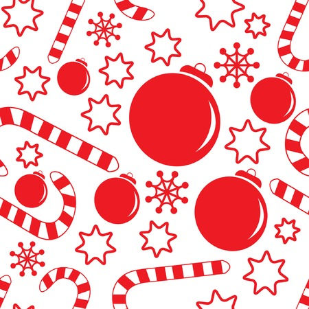 Seamless pattern with christmas decorations, candy canes, snowflakes and stars. Vector illustration for your design. Ilustração