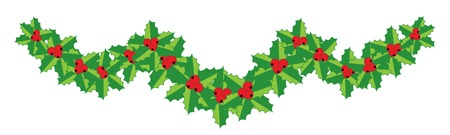 Christmas holly garland for your design. Vector illustration. Ilustração